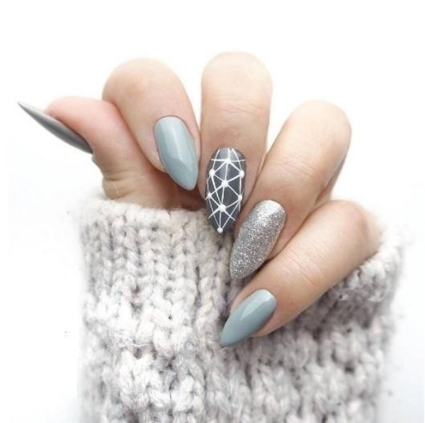 gray & glitter sweater weather nails