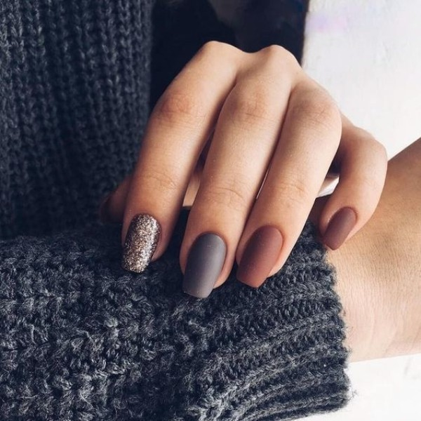 matte brown, gray and glitter nails