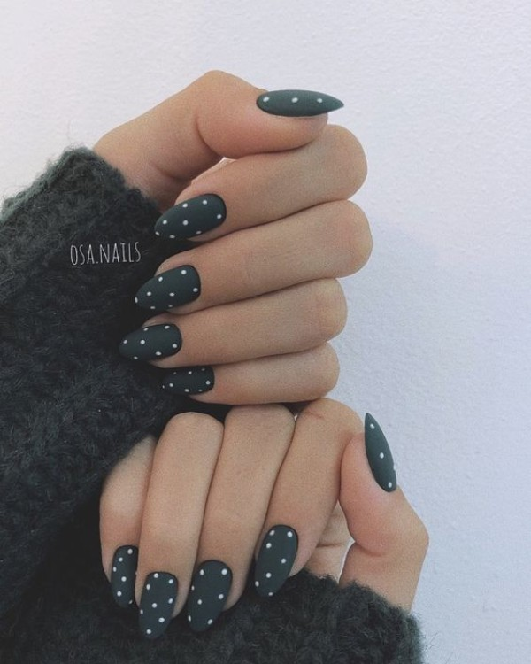 matte black nails with white dots
