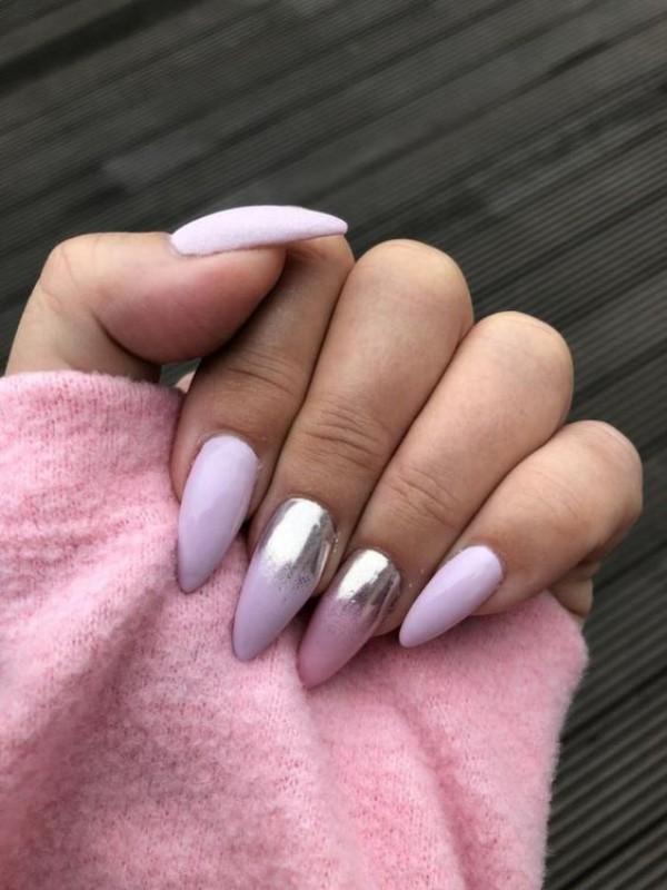 sweater weather pastel stiletto nails