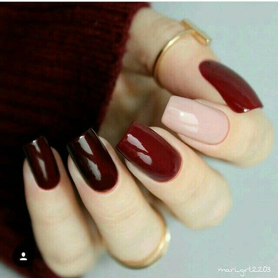 fall burgundy and beige nails