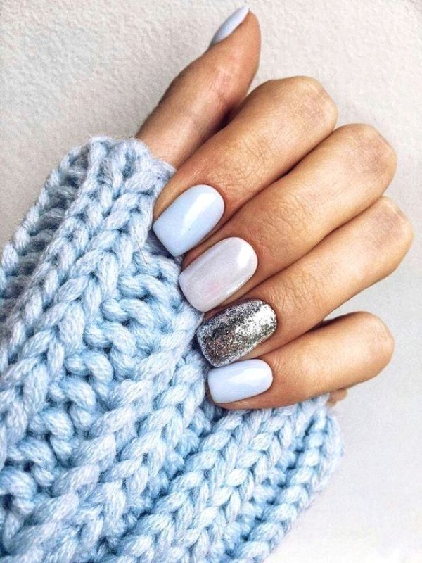 white nails with pearly powder and silver glitter
