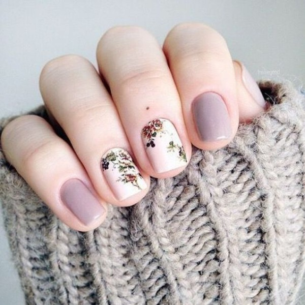 purple gray nails with floral print on white base