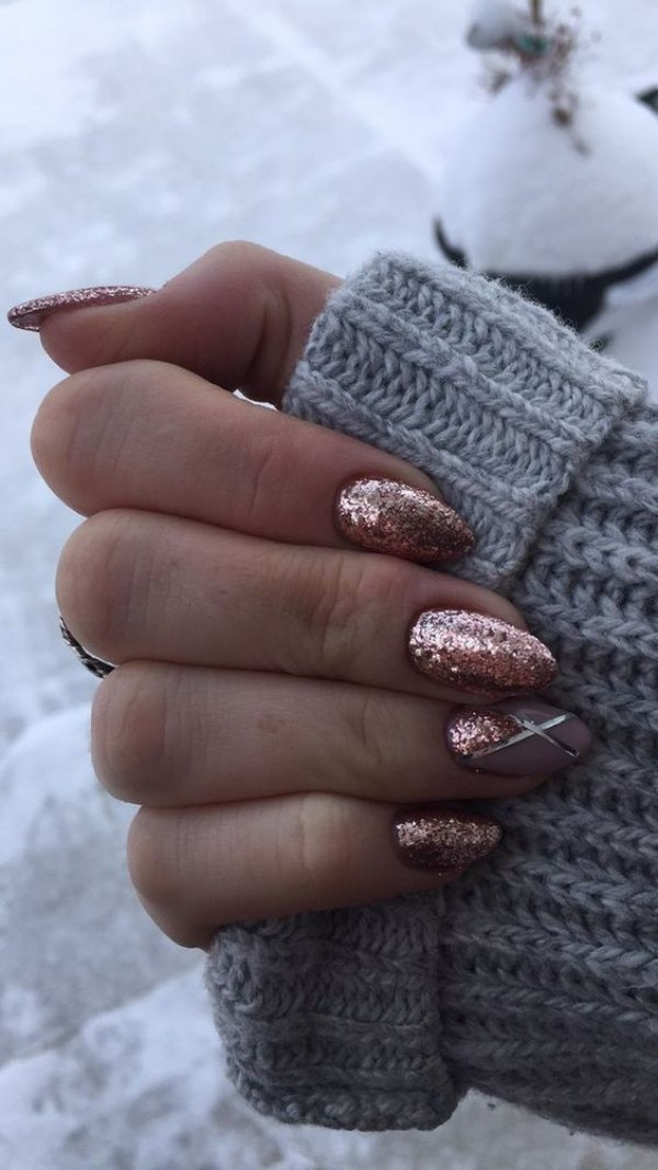 pink-rose glitter sweater weather nails