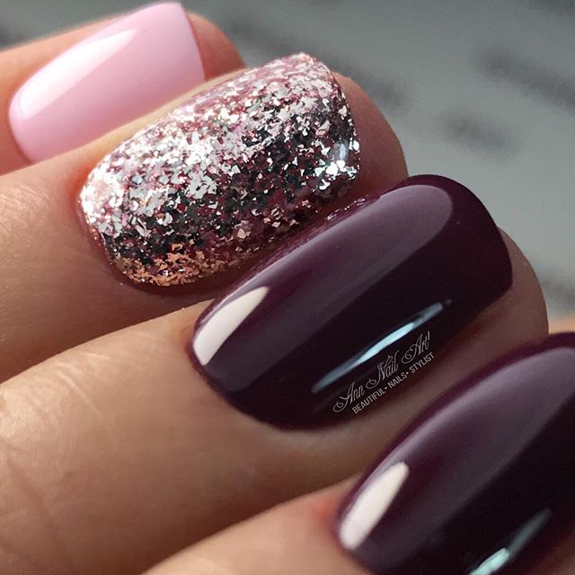 wine red and pink nail design