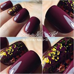 wine red and gold nails