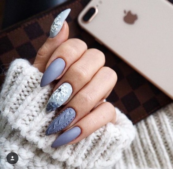 blue stiletto sweater nails