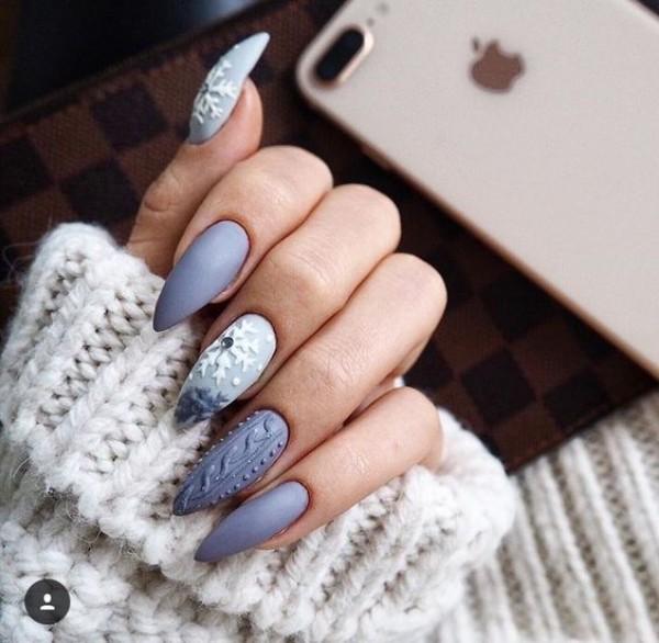 blue stiletto sweater nails