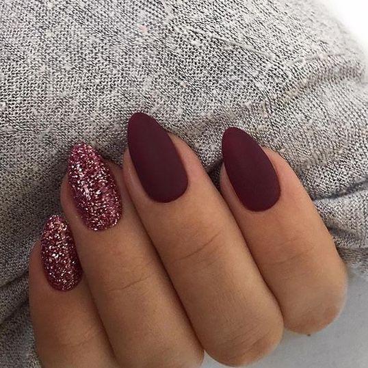 wine red matte nails