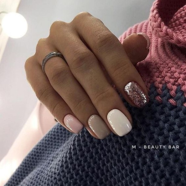 white, pink, beige, rose gold sweater weather manicure