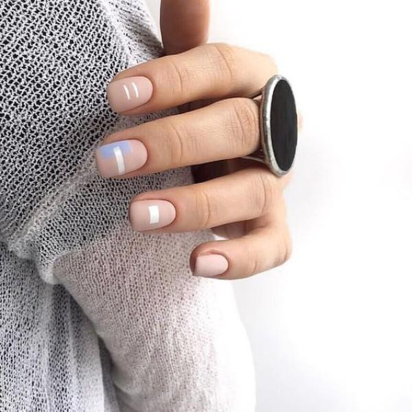 nude matte geometric nail design