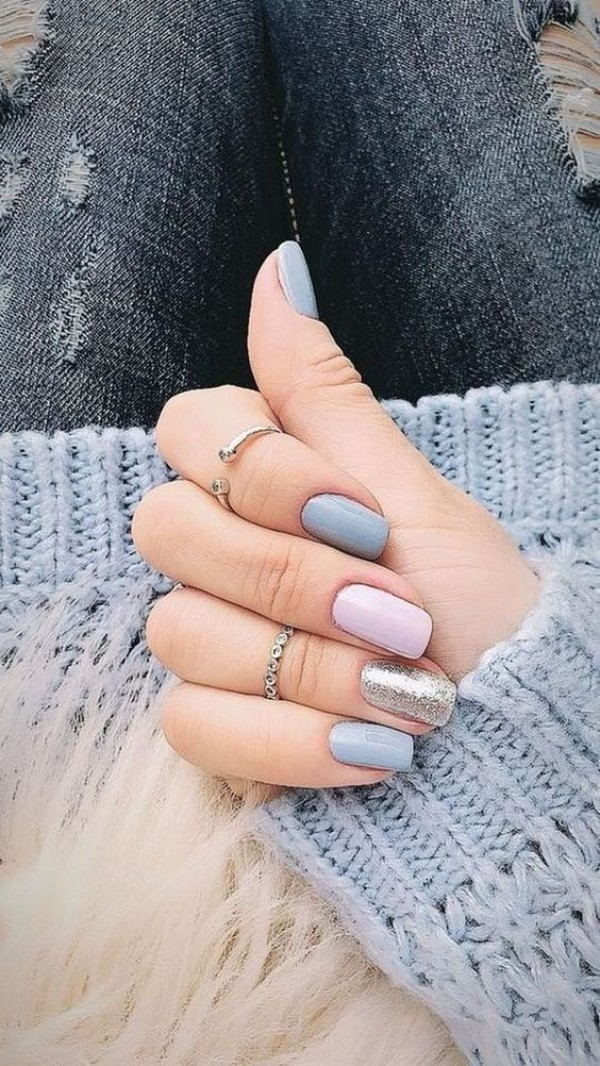 blue, pink, glitter sweater weather nails