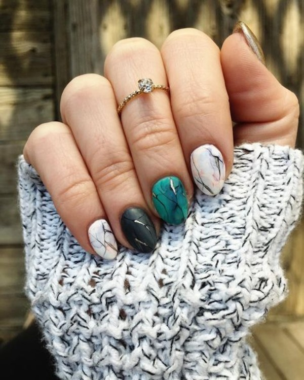 short oval sweater weather nail design