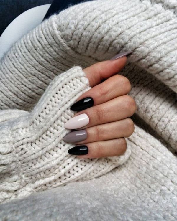 black, gray and white sweater weather nails