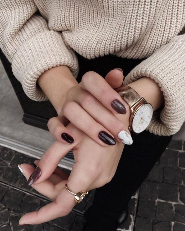 chocolate brown sweater weather nails