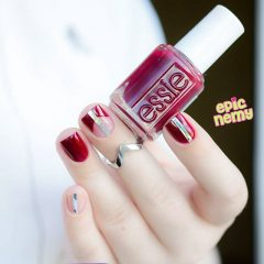 nude and wine red nail design