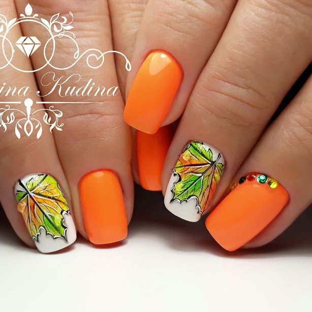 Thatleanne Firey Autumn Leaves Nail Art: Fall/Autumn Leaves Nail Art 2018