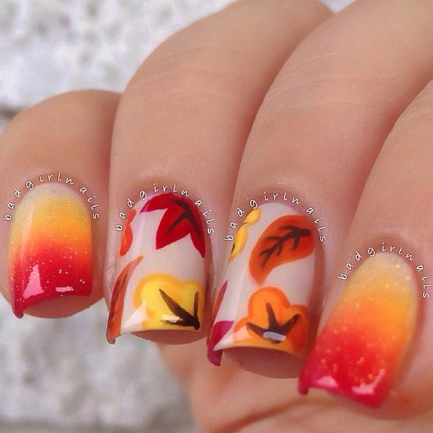 fall-ombre-leaves-nails-badgirlnails