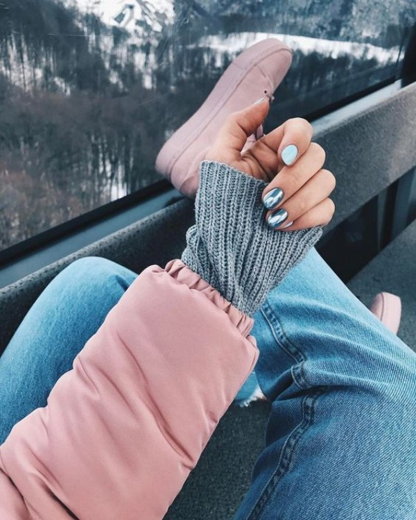 light blue and mirror sweater weather mani