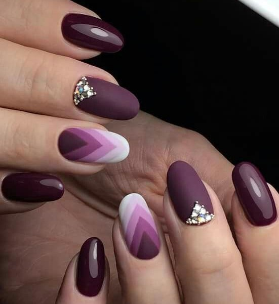 geometric wine nails