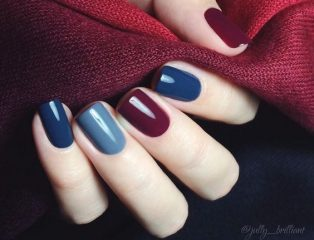 blue and wine nails