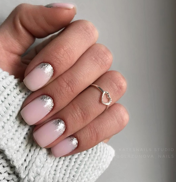 marshmallow pink nails with glitter