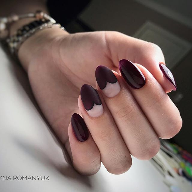 heart burgundy nails