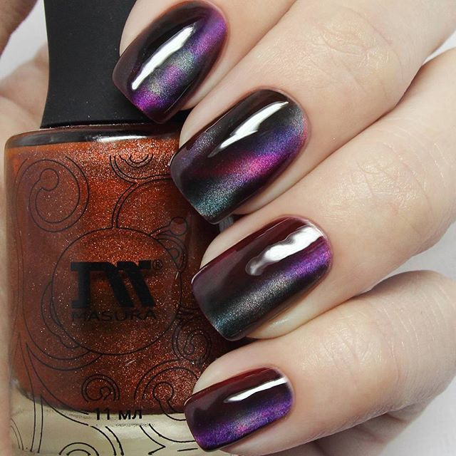 wine red cat nail polish manicure