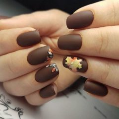 matte-brown-fall-nail-design-with-leaf-artsimplenail