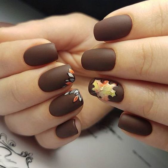 Matte Brown Fall Nail Design With Leaf Artsimplenail