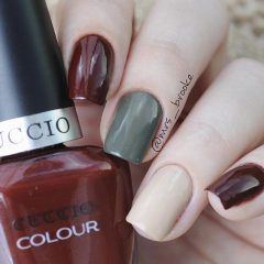 beige, gray and wine red nails