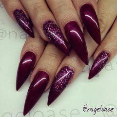 wine red stiletto nails