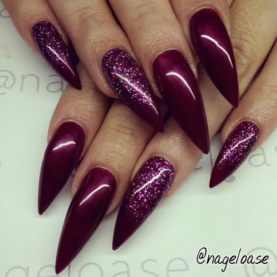 wine red stiletto nails