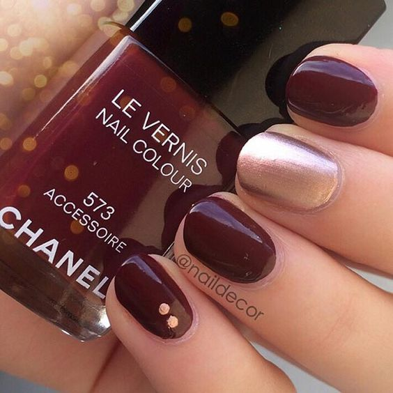 dark wine red and silver nail design