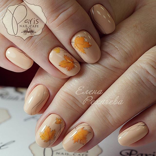 nude nail design with fall leaves