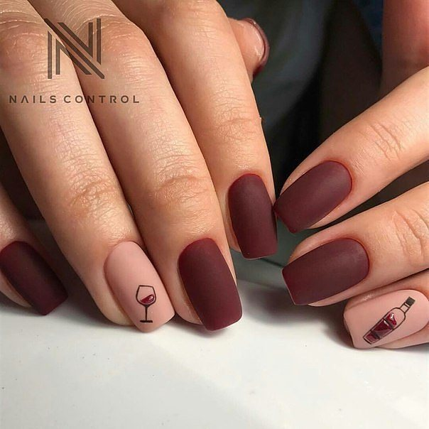 wine bottle and glass matte nail design
