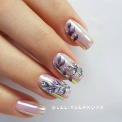 pearl shiny nail design with fall leaves