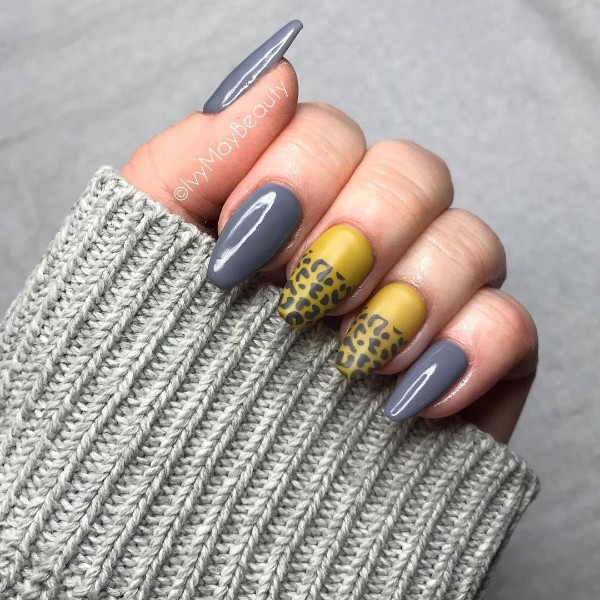 mustard gray matte nails with leopard print