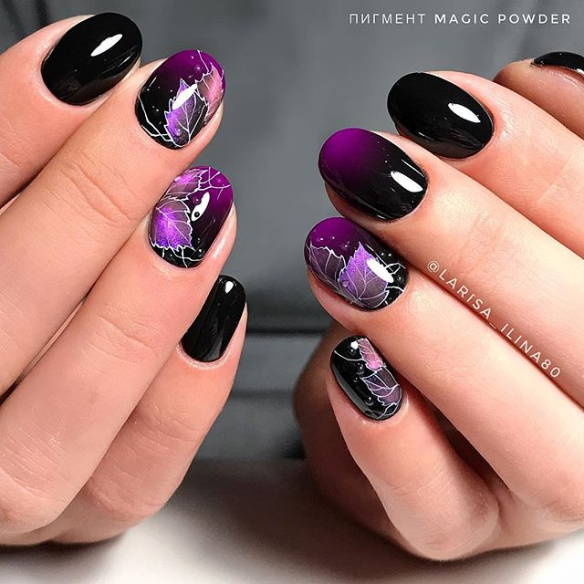 Purple Autumn Nail Design With Leaves