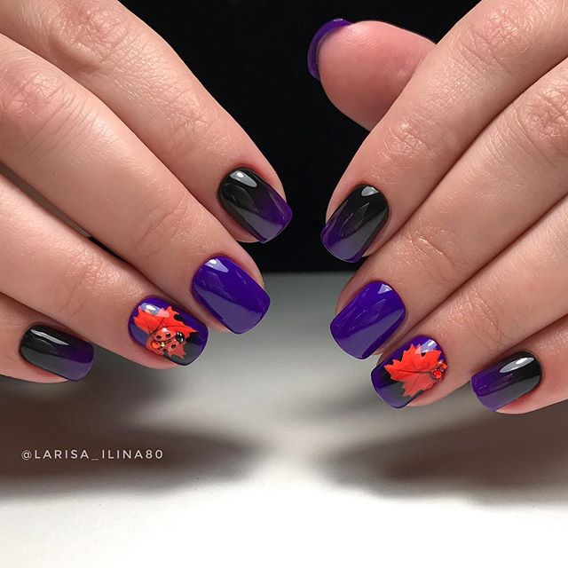 purple fall leaves nail design with ladybug