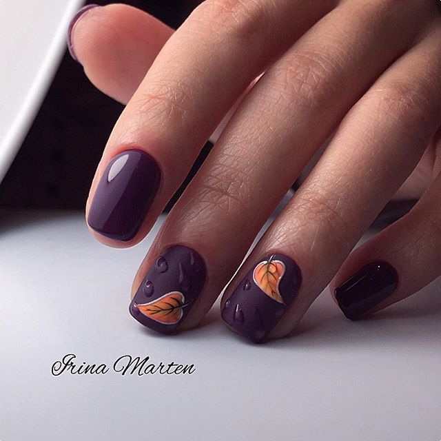 purple matte nails with leaves and rain drops