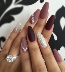 acrylic wine red nail design