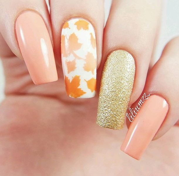 rose gold fall nails with leaves
