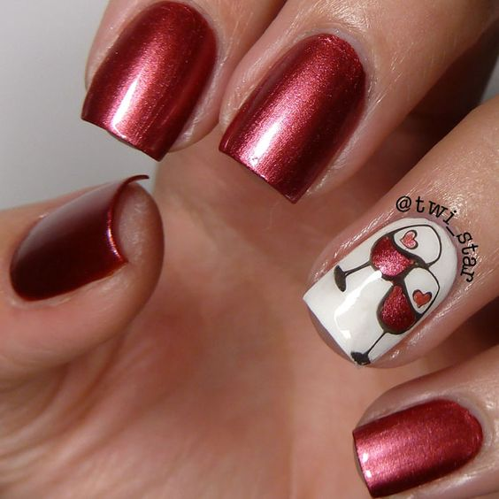 two glasses of wine nail design