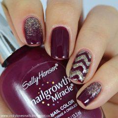 glitter shevrons and wine nails
