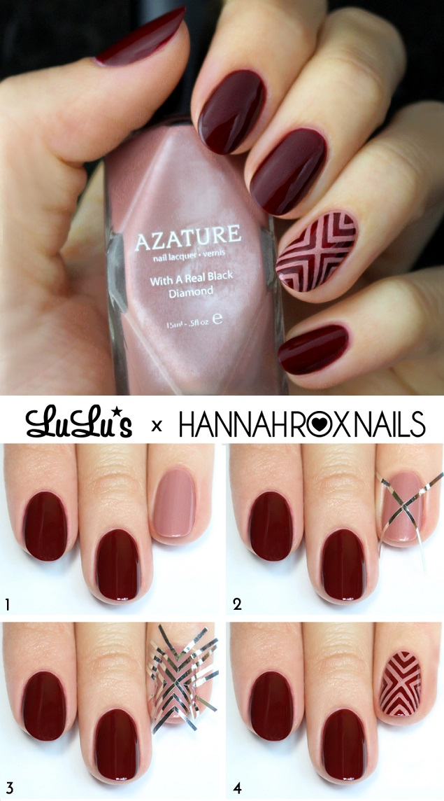 wine red nail design tutorial