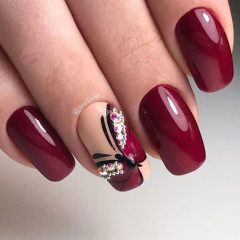wine burgundy nails with butterfly
