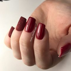 glossy and matte wine red manicure