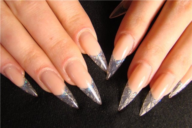 stiletto crystal nail design