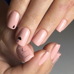 Nude hygge nails with coffee design